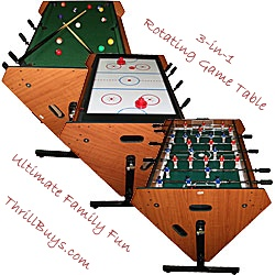 Rotating Gaming Table – Billiards, Air Hockey, and Foosball